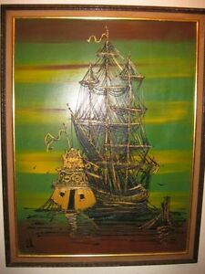 VERY LARGE OIL ON BOARD SHIP PAINTING - $400 (milton)