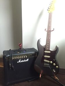 BRAND NEW Squier Stratocaster Electric Guitar and Marshall Amp!
