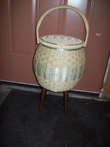 Vintage 1960's sewing basket with legs