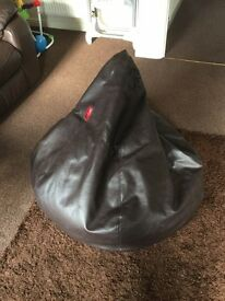 Chocolate Effect Large Leather Pear Shaped Bean Bag