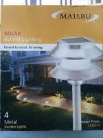 BRAND NEW in Box Set of 4 Solar Garden Lights in Pewter Finish