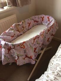 Mothercare Moses basket with stand, mattress and cover
