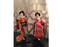 Japanese Kimono Kabuki Geisha Dolls (1 pair)