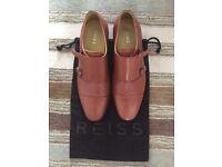 Reiss size 11 tan double monk strap shoes