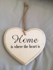Wooden Heart Shape HOME Plaque White Home Decor Shabby Chic