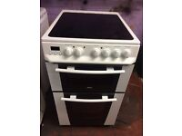 White zanussi 50cm ceramic hub electric cooker grill & fan oven good condition with guarantee