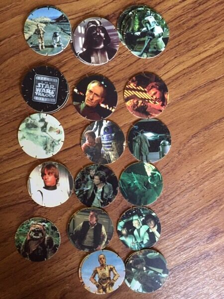26 Walkers Star Wars Tazos (1996in Loughborough, LeicestershireGumtree - 26 in total but 17 different (some duplicated).Nos included are 1, 5, 6, 7, 8, 13, 14, 17, 24, 26, 27, 31, 32, 33, 34, 35 & 50.Cash on collection or can post at cost if preferred (payment by PayPal required)