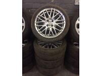 Set of 215/45/17 Vauxhall fit fox alloys with tyres