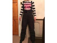 Black alpine ski snow suit trousers