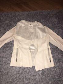 Cream leather newlook waterfall jacket