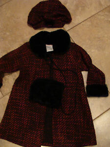 Jacket with hat- red/black - size 24m - VERY CUTE