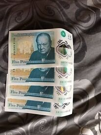 4 £5 AA notes