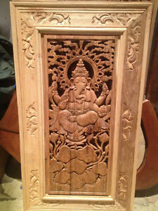 Fresque Sculpture Murale bois Teck Bouddha Ganesh GuanYin /Wall carved wood sculpture Buddha Ganesha *NEW from Indonesia