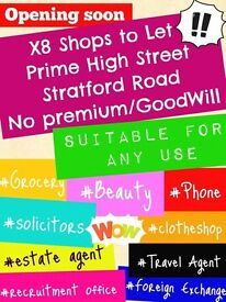 Shop to let Stratford Road - No Premium- prices slashed - Don't Miss out - Call Now