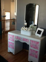 Refurbished Antique girls Lacey pink vanity