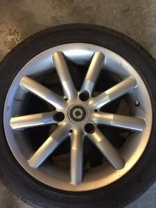 """Smart ForTwo-Alloy Rims and """"like new"""" tires (OBO) Kitchener / Waterloo Kitchener Area image 1"""
