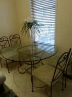 """Excellent Condition 54"""" Glass Dining Table Set With 4 Chairs"""