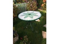 Solid Cast iron tiled garden table