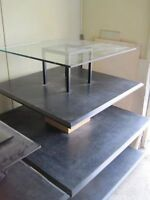 4 TIERED SHELVING UNIT/GLASS TOP
