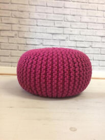 Knitted pouffe ball foot stool /seat