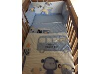 Boys cot quilt, bumper, sheet and mobile