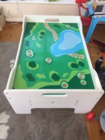 Wooden play / train table with drawers