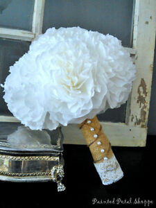 Coffee Filter Bridal Bouquet/ Rustic Wedding Flowers/ White Belleville Belleville Area image 1