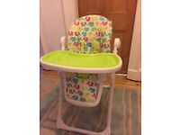 Baby high chair, reclines and adjusts height