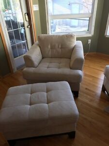 Love seat,  chair and ottoman.