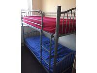 Silver metal bunk beds frame - No mattresses