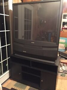 "43"" Toshiba Projection + Black Wood TV stand"
