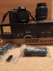Nikon D5100 DSLR 18-mm VR lens in box with extras