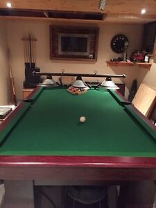 Pool table with pool light