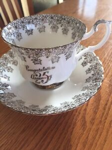 Royal Albert silver wedding tea cup and saucer Windsor Region Ontario image 1