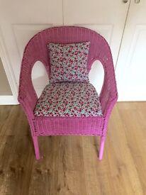 Pink vintage Lloyd loom chair