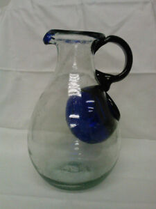 Collectible Antique Hand Blown Pitcher with Ice Cube Holder