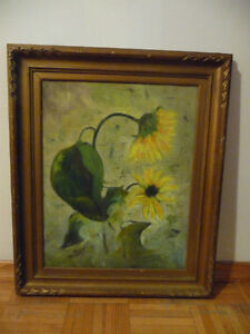 Oil Painting on board with sunflowers.