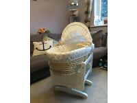Moses Basket and White gliding rocking stand