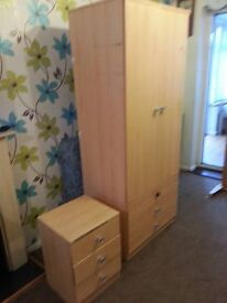 Wardrobe and bedside unit.cheap to start off or spare room