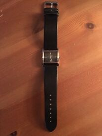 Black strapped watch
