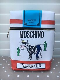 Moschino Coated Canvas Backpack New