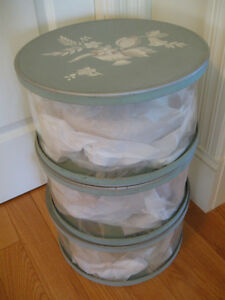 THREE GORGEOUS OLD MATCHING SEE-THRU HAT BOXES..['40's-'50's] Wa