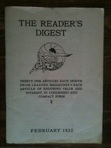 the reader's digest february 1922 vol. 1 no. 1, in great shape!