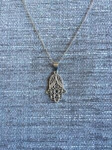 Silver Filagree Hamsa Necklace