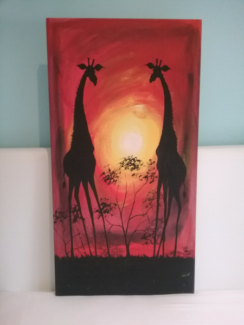 Professionally stretched hand painted in Malawi Giraffes