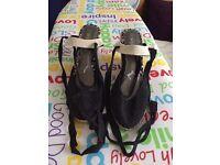 Black Tie Up Wedge Shoes