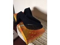 Ladies shoes navy blue suede effect