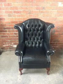 Black Chesterfield Leather Wing Chair - UK Delivery