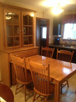 Mennonite China Cabinet / pull out kitchen table and chairs
