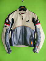 Leather Jacket - Cream / Silver / Red - Medium at RE-GEAR